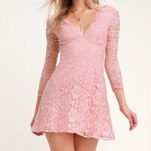 Lulus blush pink lace dress